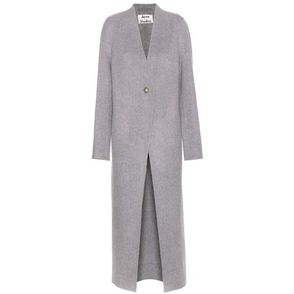 Acne Studios Valda Wool and Cashmere Coat (20.460.840 IDR) ❤ liked on Polyvore featuring outerwear, coats, acne, grey, acne studios, gray wool coat, gray coat, grey coat and wool coat