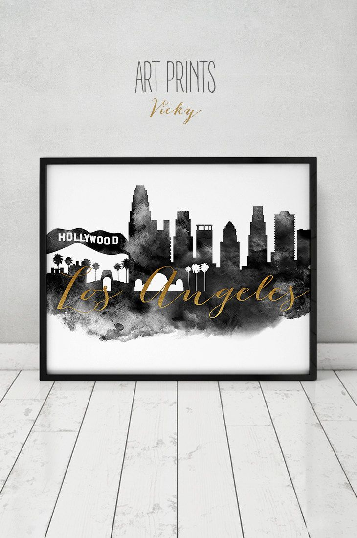 Los Angeles Wall Art los angeles print, watercolor poster, wall art, los angeles