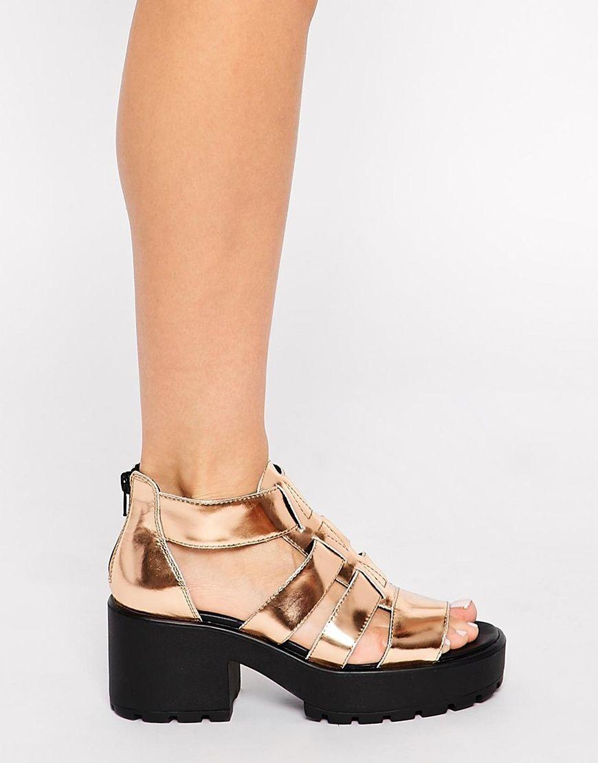 0d15bee8d65 Vagabond Dioon Metallic Rose Gold Gladiator Heeled Sandals