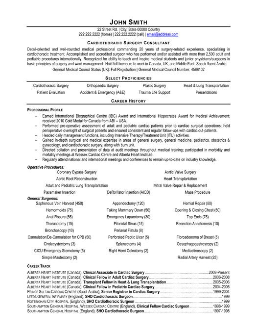 Click Here to Download this Cardiothoracic Surgeon Consultant - medical sales resume