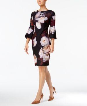 64bb5f7173d12 Calvin Klein Floral-Print Bell-Sleeve Sheath Dress - Purple 12 ...