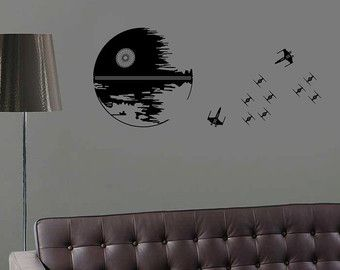 Charming Death Star Sticker Star Wars Wall Decal Darth Vader Luke Skywalker Alliance  Yoda Kids Room Decor Childrenu0027s Nursery Decal