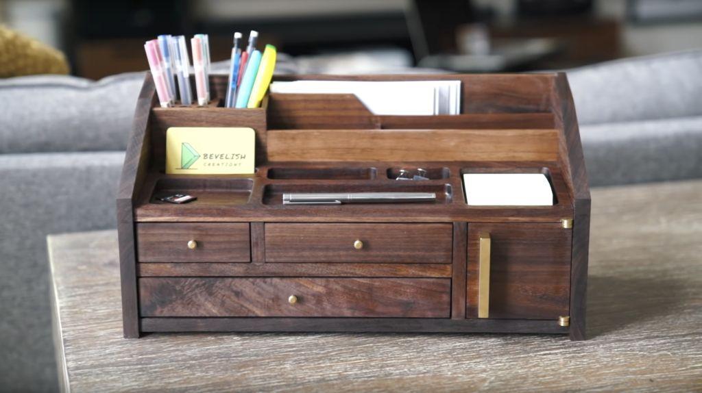 A Mid Century Inspired Desk Organizer In 2020 Desk Organization Storage And Organization Solid Walnut Desk