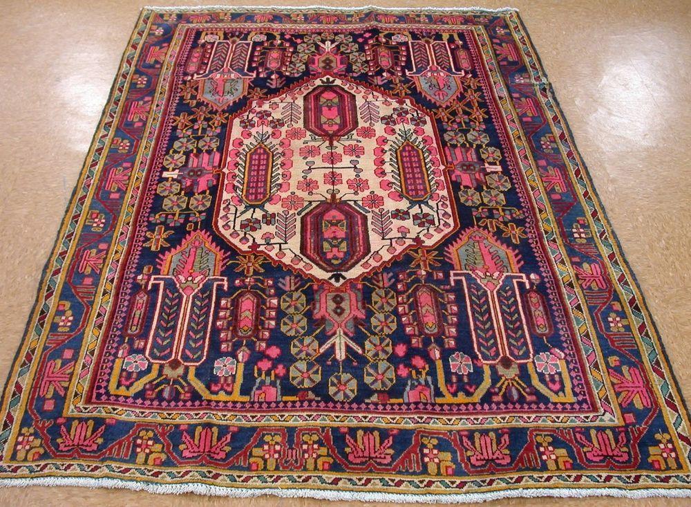 Elegant 5 X 7 Persian NAHAVAND Tribal Hand Knotted Wool NAVY PINK YELLOW Oriental  Rug #PersianNahavandTribalNomadicGeometric