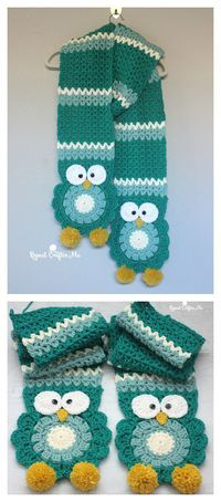 Owl Super Scarf Free Crochet Pattern-click on the name on the bottom to get the pattern.