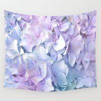 Wall Tapestries featuring Soft Pastel Hydrangea by Judy Palkimas