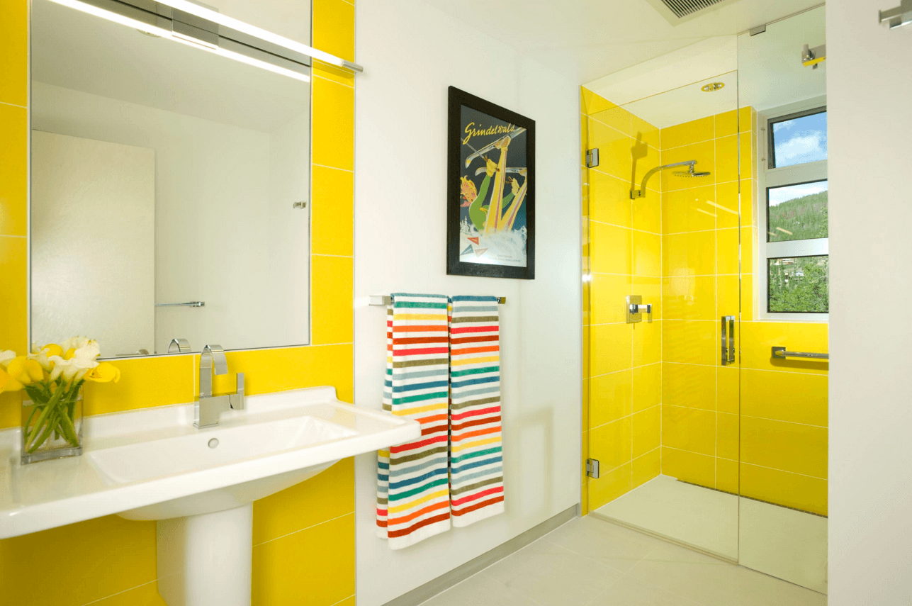 Ways To Add Color Into Your Bathroom Design Use Colorful - Yellow bath towels for small bathroom ideas
