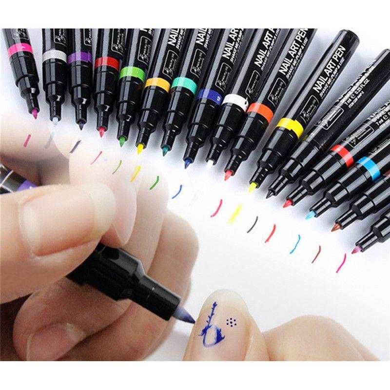 Hot 16 Colors Nail Art Pen Painting Design Nail Tools UV Gel Polish ...