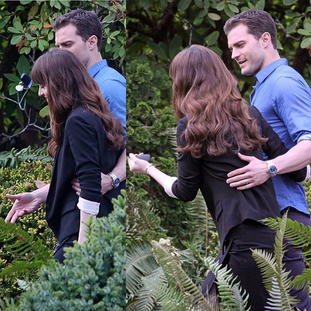 """Here."" Christian throws me the keys to the R8. ""Don't bend it"" - he adds in all seriousness - ""or I'll be f**king pissed."" Jamie and Dakota filmed this iconic scene from #FiftyShadesFreed today. Pic via christian1_ana #JamieDornan _______________________________________________________"