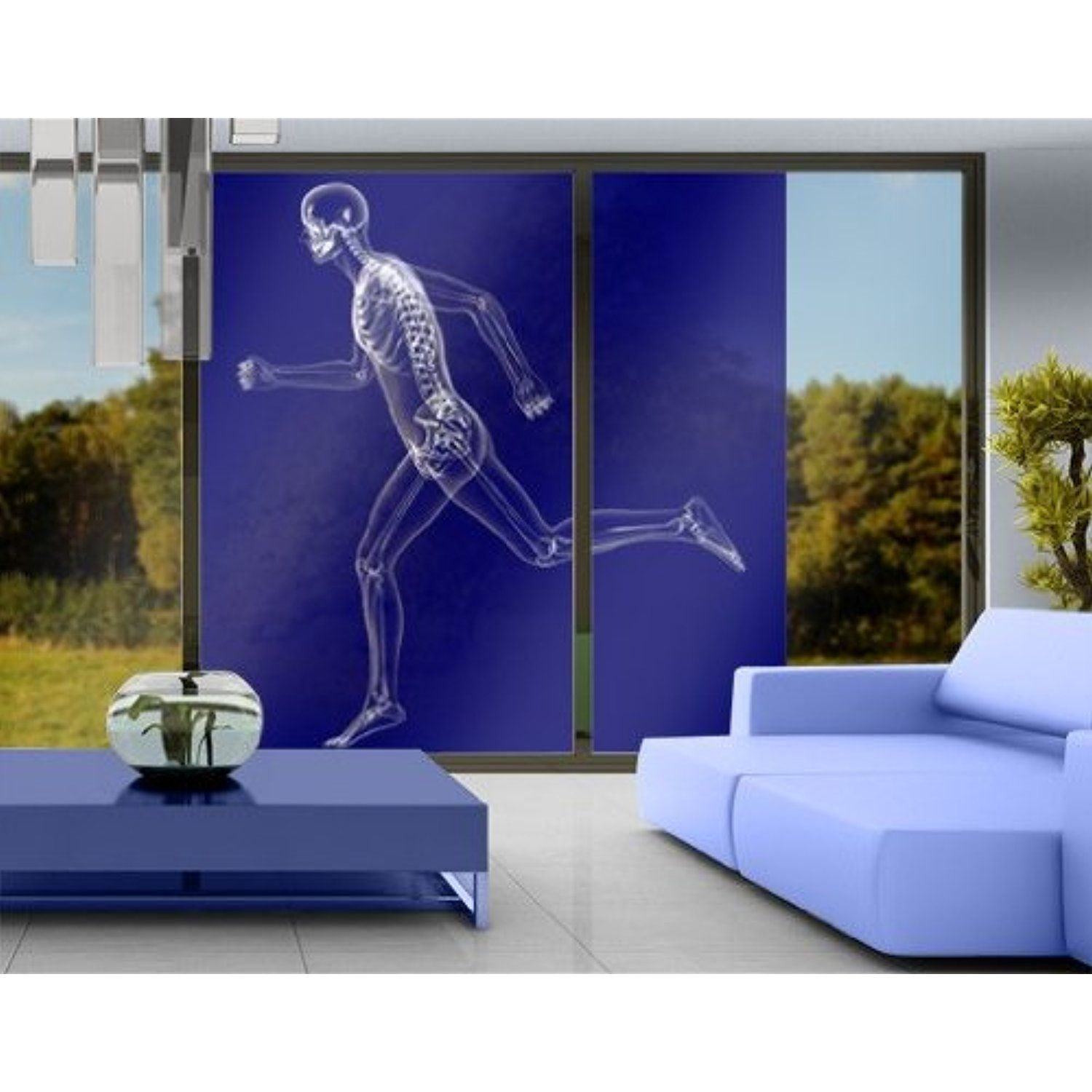 Déco Murale Diy Window Mural Glassy Human In Blue Window Sticker Window Film