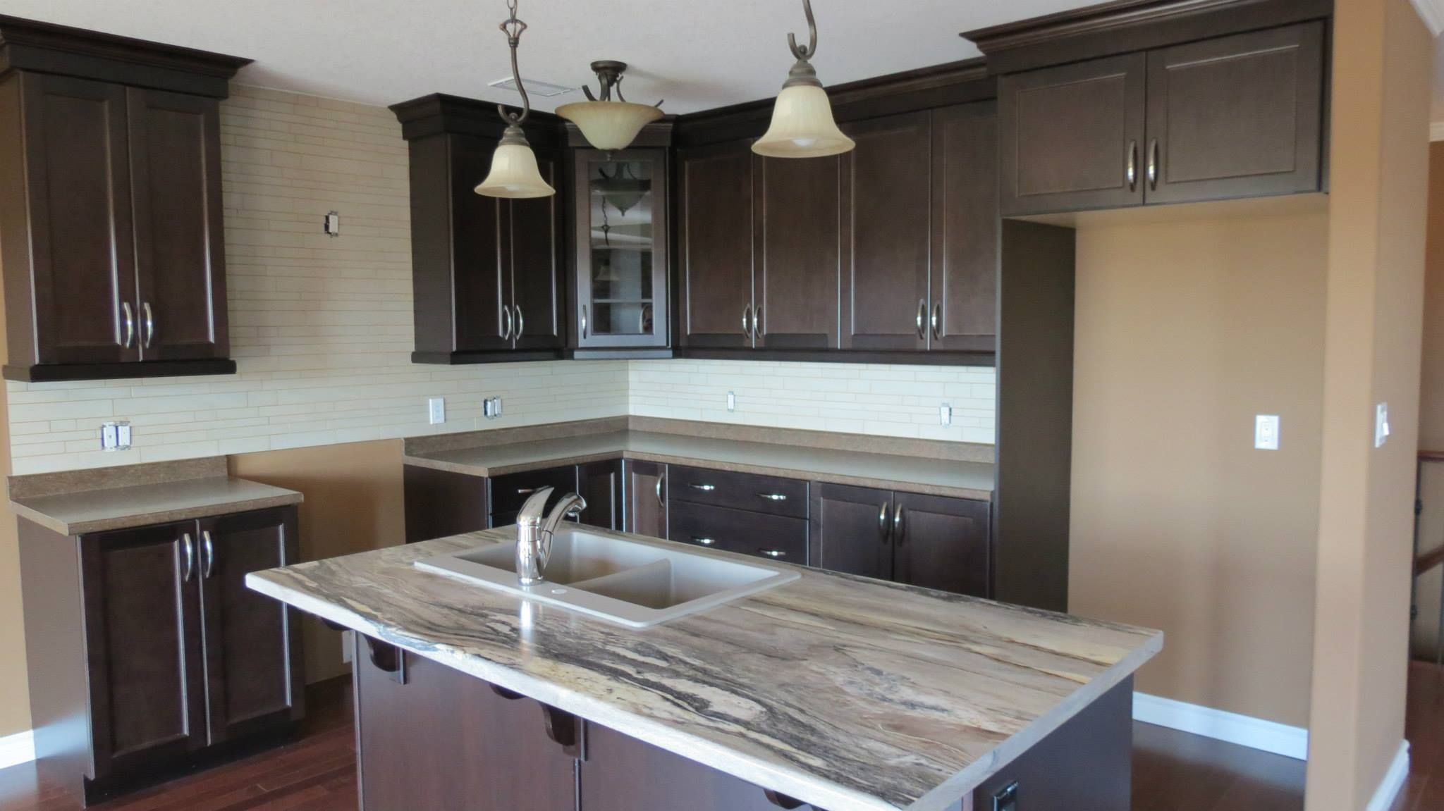 Cappuccino On Maple With Dolce Vita Laminate Island Top Kitchen Design New Kitchen Designs New Kitchen