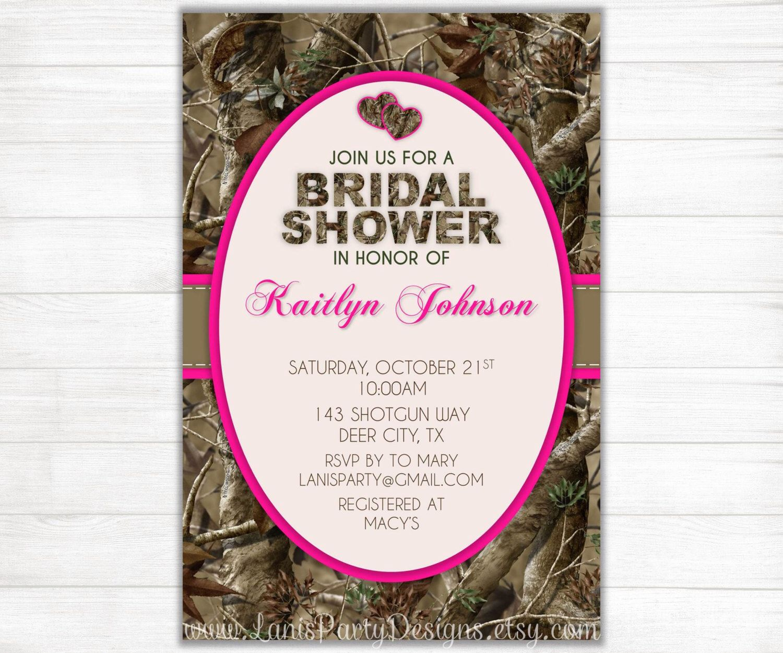 camo bridal shower invitation hearts hunting camouflage deer pink orange wedding invites diy printable