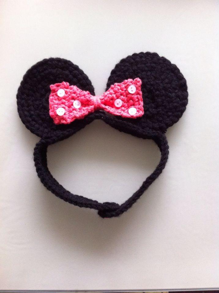 Crocheted Minnie Mouse headband | Crochet ideas! | Pinterest