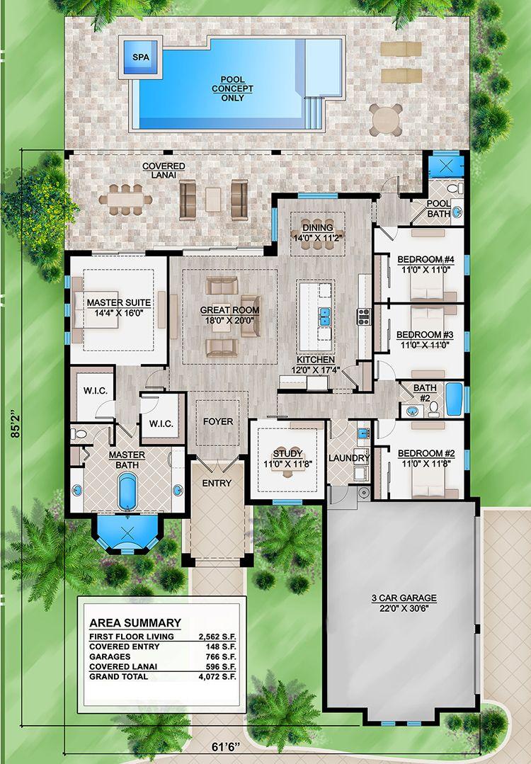 House Plan 207 00062 Florida Plan 2 562 Square Feet 4 Bedrooms 3 Bathrooms In 2021 Florida House Plans Pool House Plans House Layout Plans