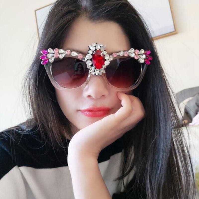 2477f606fe 2018 Sunglasses Women Brand Designer Vintage Sunglasses Luxury Colorful  Crystal Cat Eye Sunglasses Women Shades Dropshipping