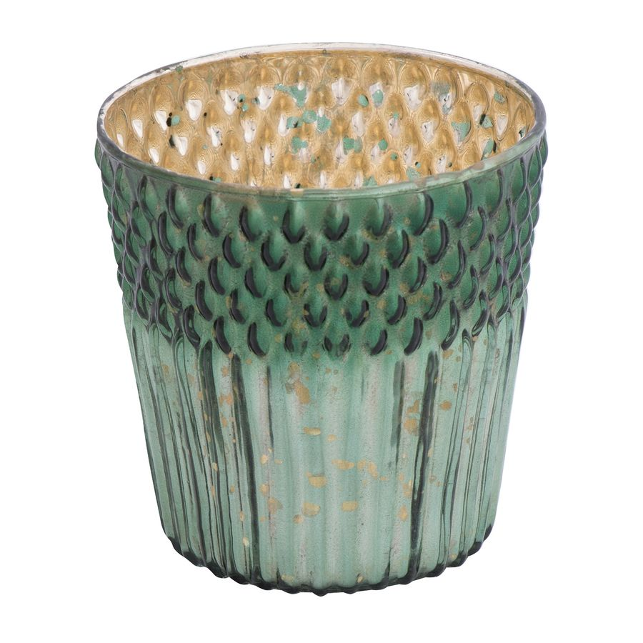 Holiday Living 1 Candle Green Mercury Glass Pillar Christmas Candle Holder