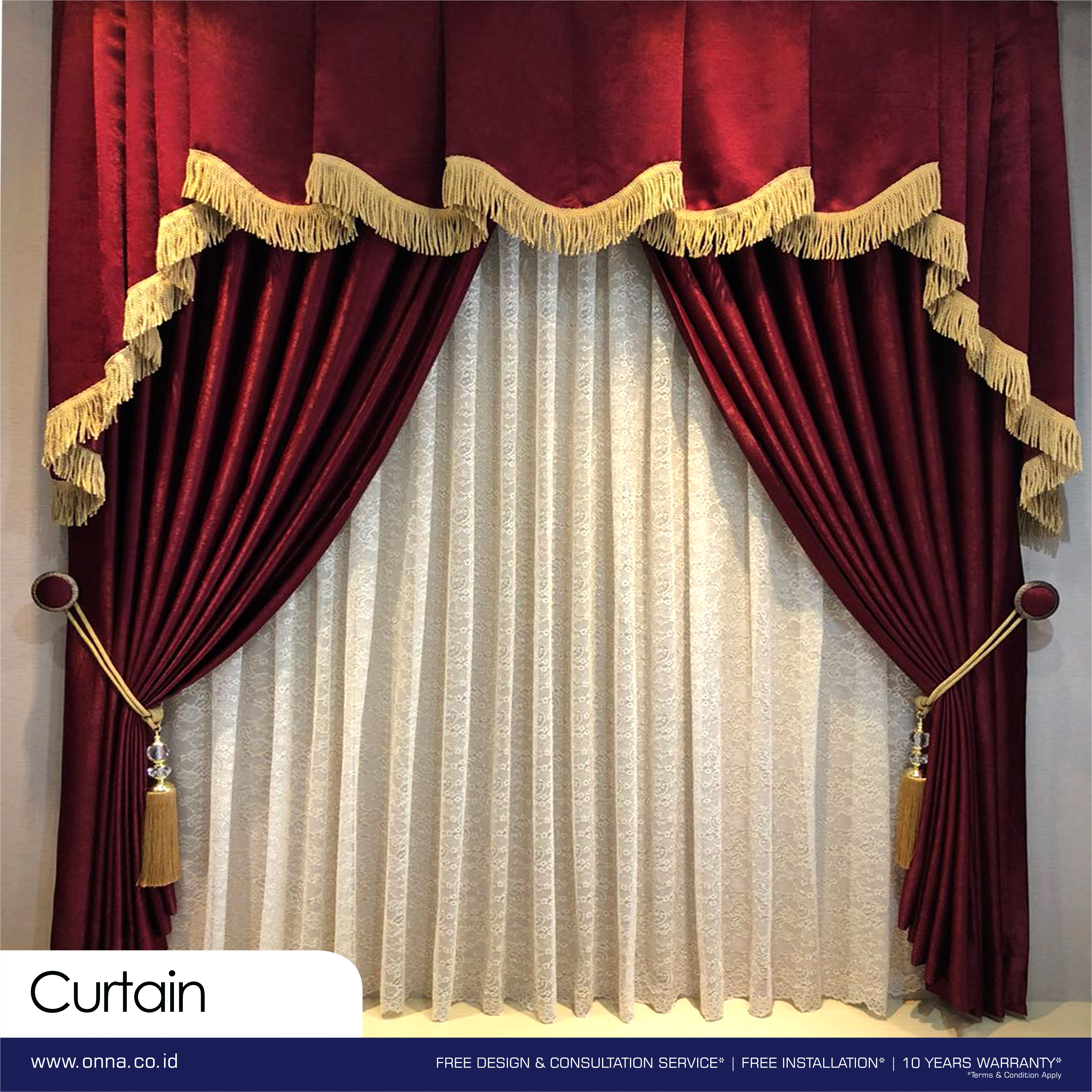 A Custom Made Curtain In Deep Red For Those Wanting To Make A