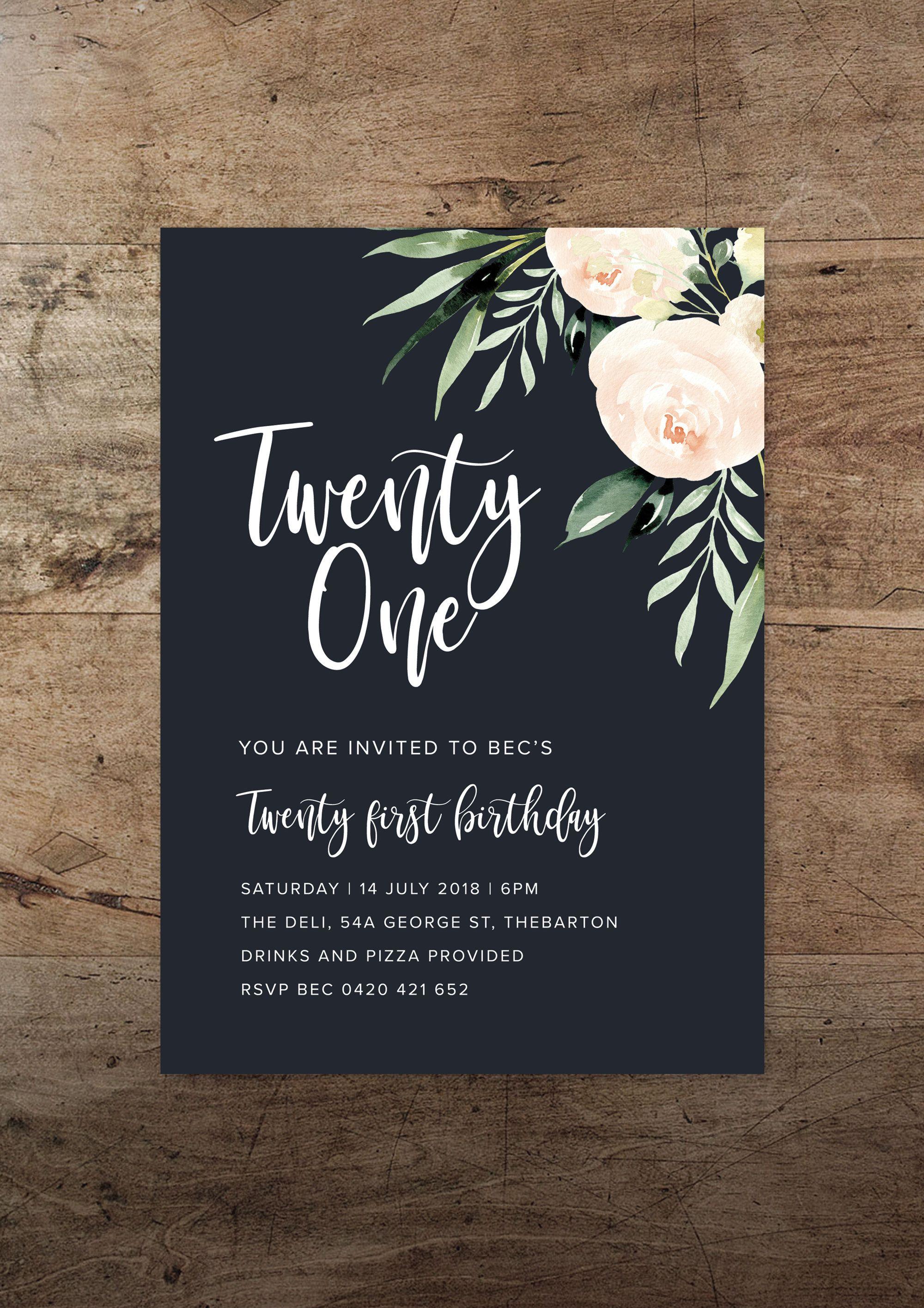 Navy Blush Birthday Invitation All Ages Etsy By Rachel Vanderzon 21st Birthday Invitations Invitation Design Birthday 21st Invitations