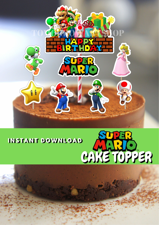 Printable Super Mario Cake Topper Super Mario Etsy Mario Birthday Cake Super Mario Cake Mario Cake