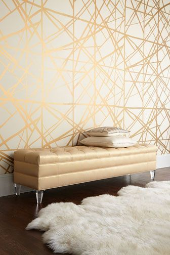 Gold Lines Modern Pattern On Decorative Wall WITH A SUPER TRADITIONAL BUFFET TO OFFSET MODERN WALL CHIC
