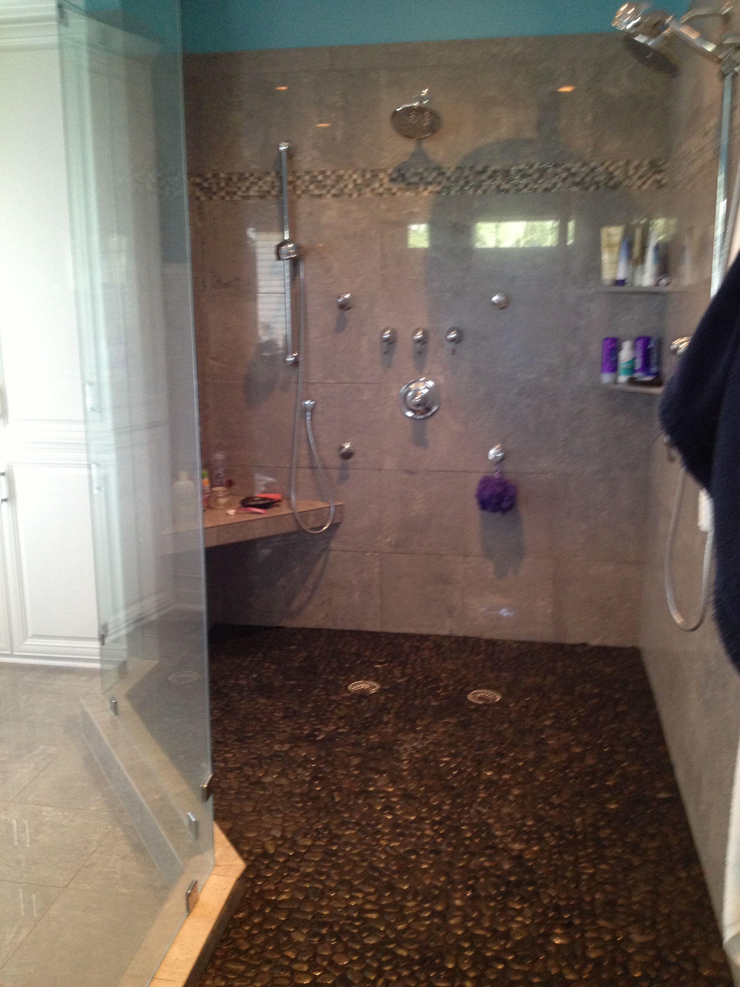 Shower, pebbles | Bathroom design, Shower, Bathtub