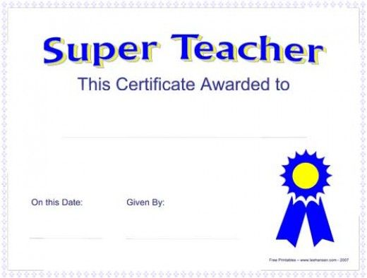 Printable Awards, Certificates and Diplomas Certificate and Teacher - blank award certificates