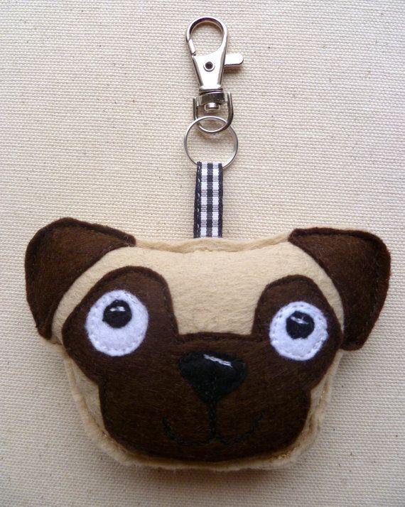 Pug dog felt keyring. Nickel free swivel clip bag key by lemonyjen, £4.50
