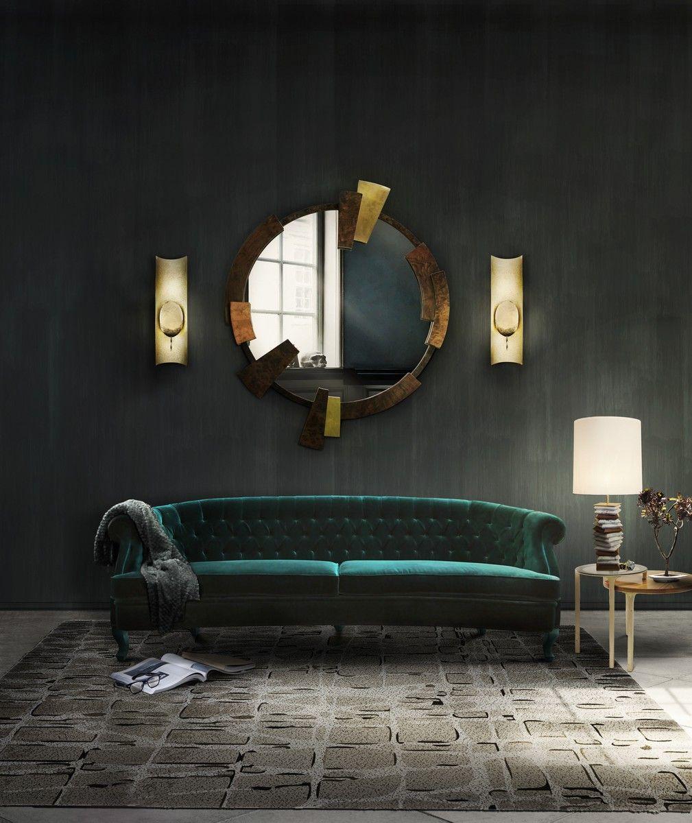 Velvet Sofa | Interior Design Inspiration | Accent Chair | #upholstery #velvet #velvetsofa Find more inspiration at: https://www.brabbu.com/en/inspiration-and-ideas/materials/trendiest-materials-home-decor-2017