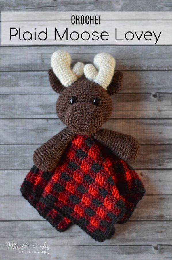Crochet Plaid Moose Lovey - Crochet Pattern - Whistle And Ivy - Baby Crochet