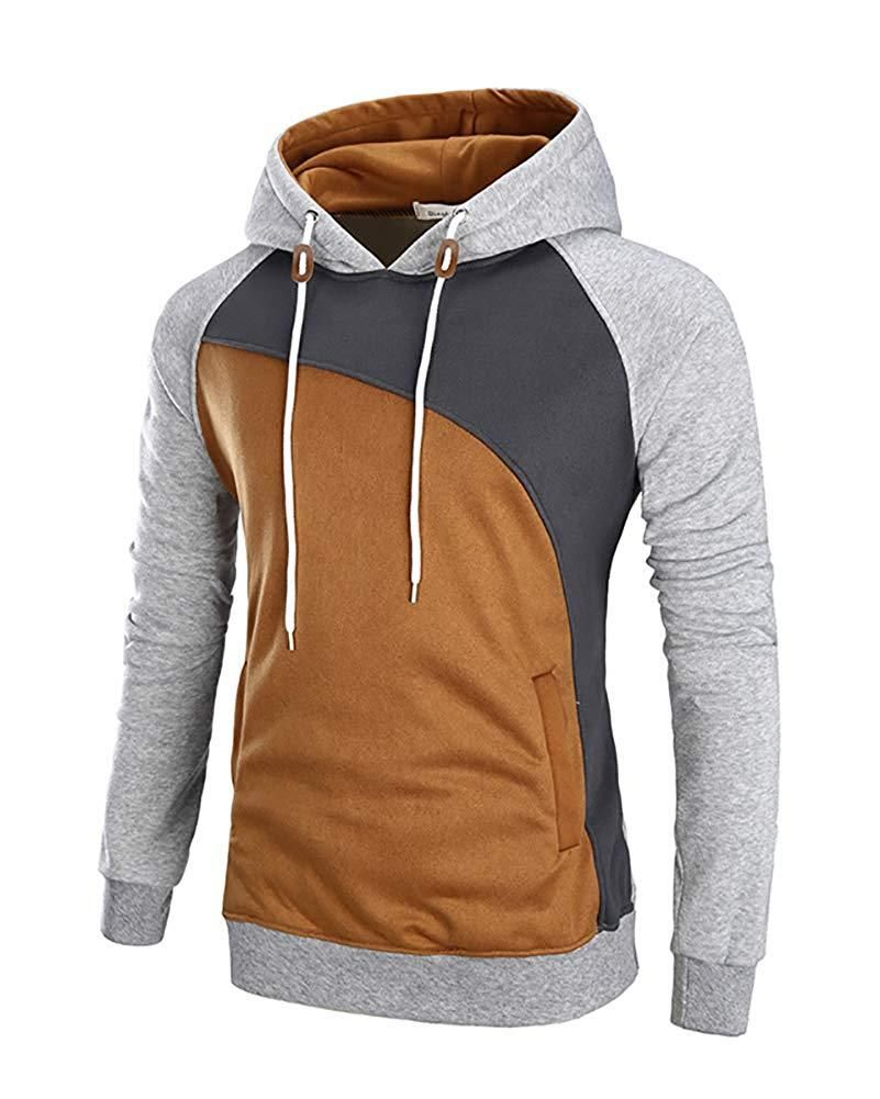 Fllay Men Long Sleeve Casual 2 Piece Fitted Hoodie Splicing Hit Color Outfits Tracksuit