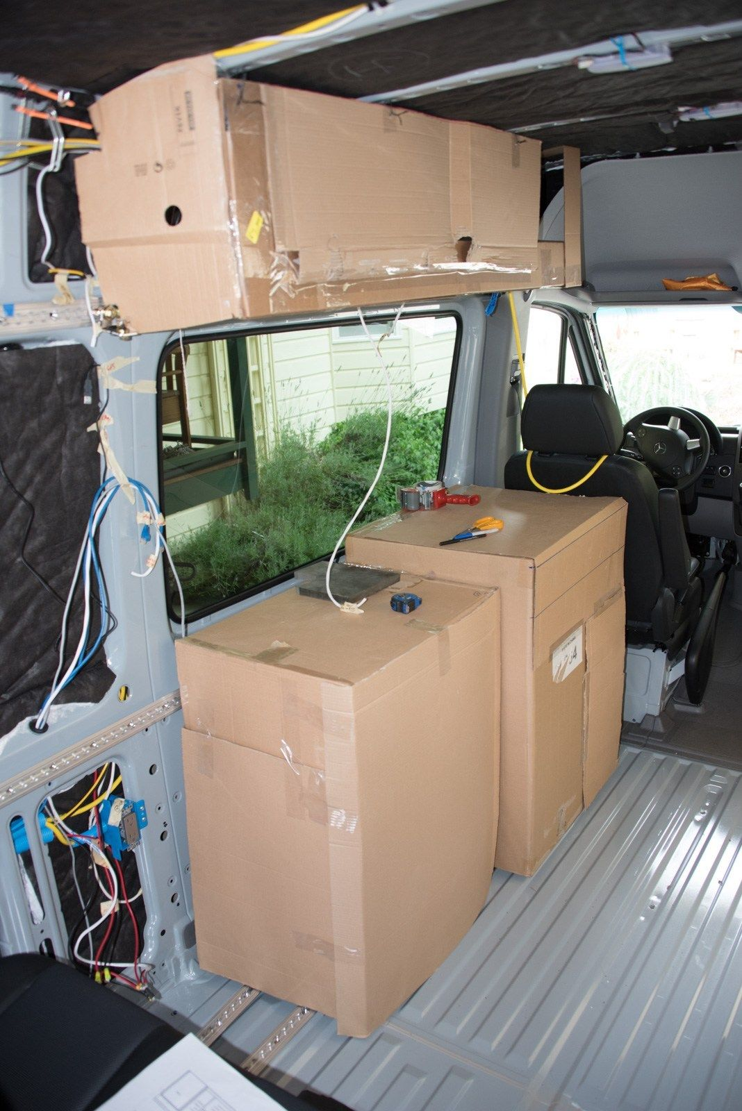 Mocking up cabinet locations – Sprinter Adventure Van | Van life