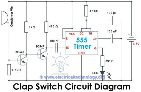 Clap Switch Circuit Electronic Project Using 555 Timer | Pinterest ...