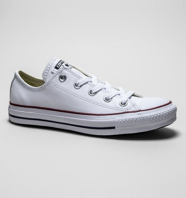 3d2812bb59ee These All Star from Converse features a white leather upper with a rubber  toe cap section