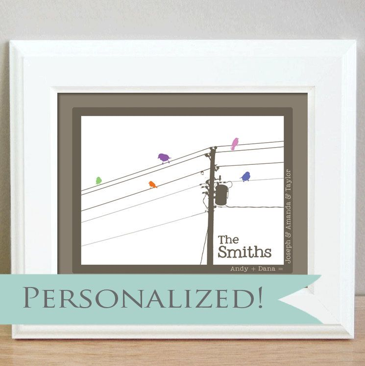 Personalized family birds on a wire - 5 x 7 -  Makes a great anniversary gift or baby shower gift. $8.00, via Etsy.