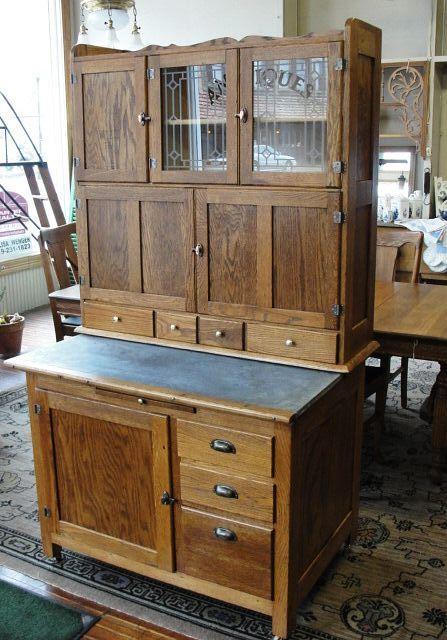 vintage kitchen hoosiers   Vintage Hoosier Style Oak Kitchen Cabinet ...