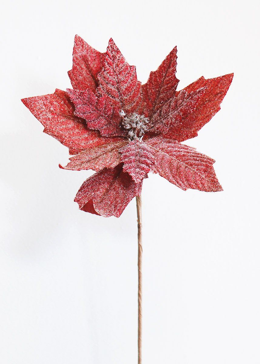 Red Beaded Poinsettia Artificial Christmas Flowers Afloral Com Christmas Flowers Poinsettia Flower Afloral