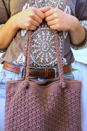 Gehäkelte Handtasche Taschen Häkeln Pinterest Häkeln Tasche