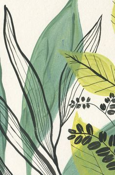 Read the full title Foliage 1- Green plants PRINT vegetation goauche painting of green leaves - Modern Botanical Poster Print - Green wall art by Catalina