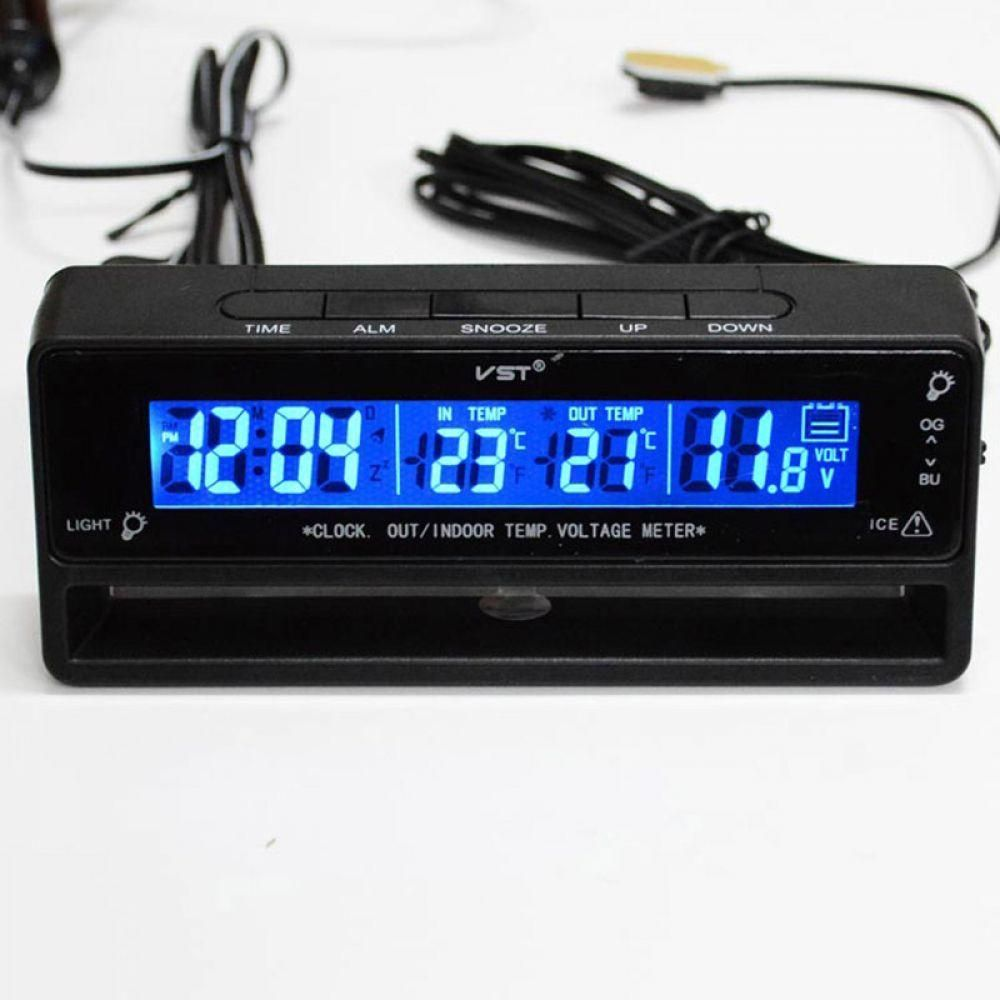 Portable 12V Digital  LED Car Thermometer Voltage Meter Monitor Alarm Clock 3in1