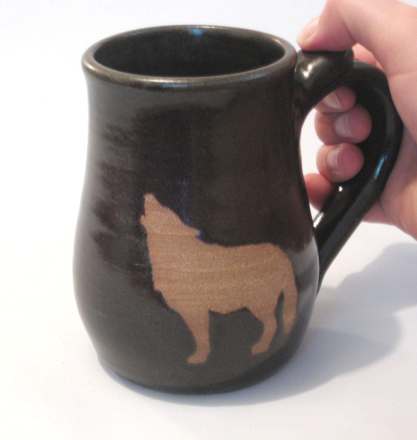 Howling Wolf Coffee Mug Tea Cup Handmade Pottery Bare
