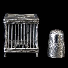Antique Chinese Export Silver Bird Cage