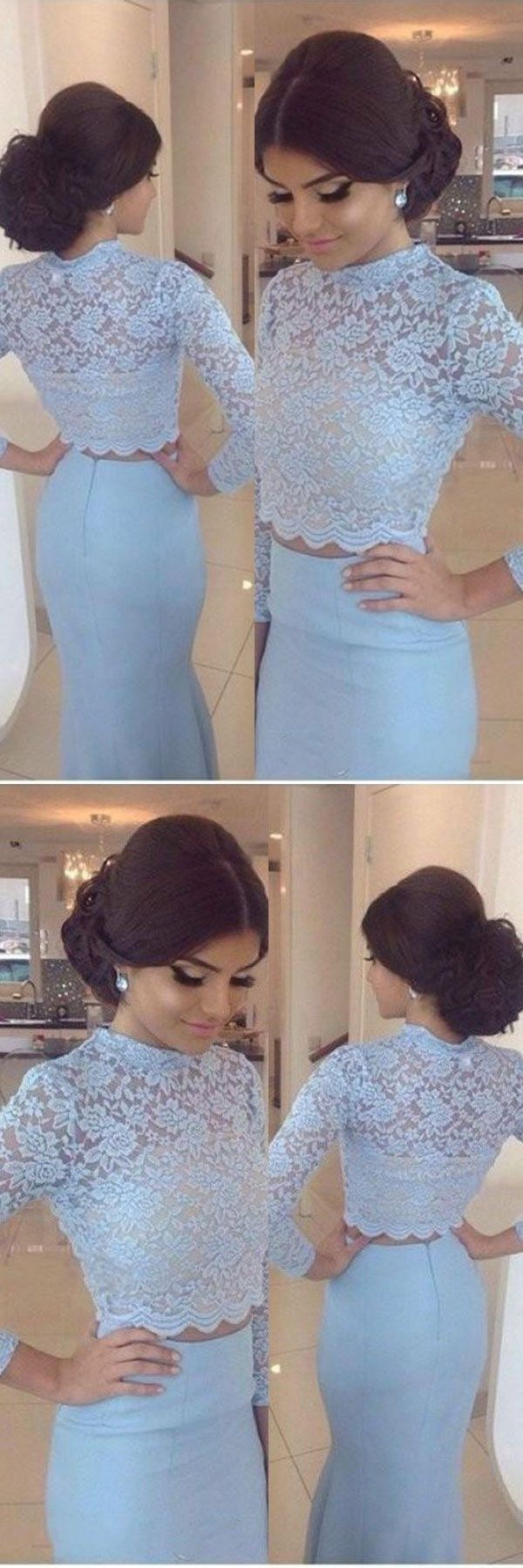 Long sleeve two piece prom dresses mermaid prom dress lace evening