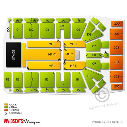 Tyson Event Center Tyson Events Center Chart Seating