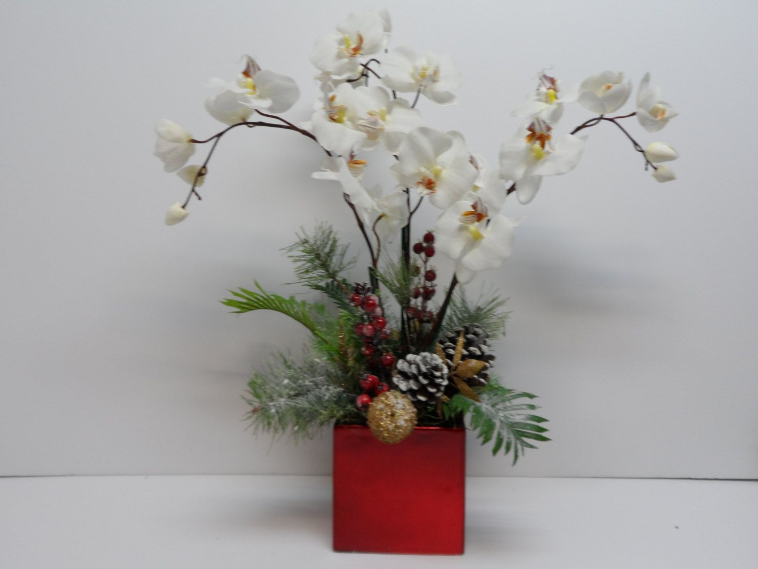 Christmas Orchid Arrangement Orchid Arrangement Elegant: christmas orchid arrangements