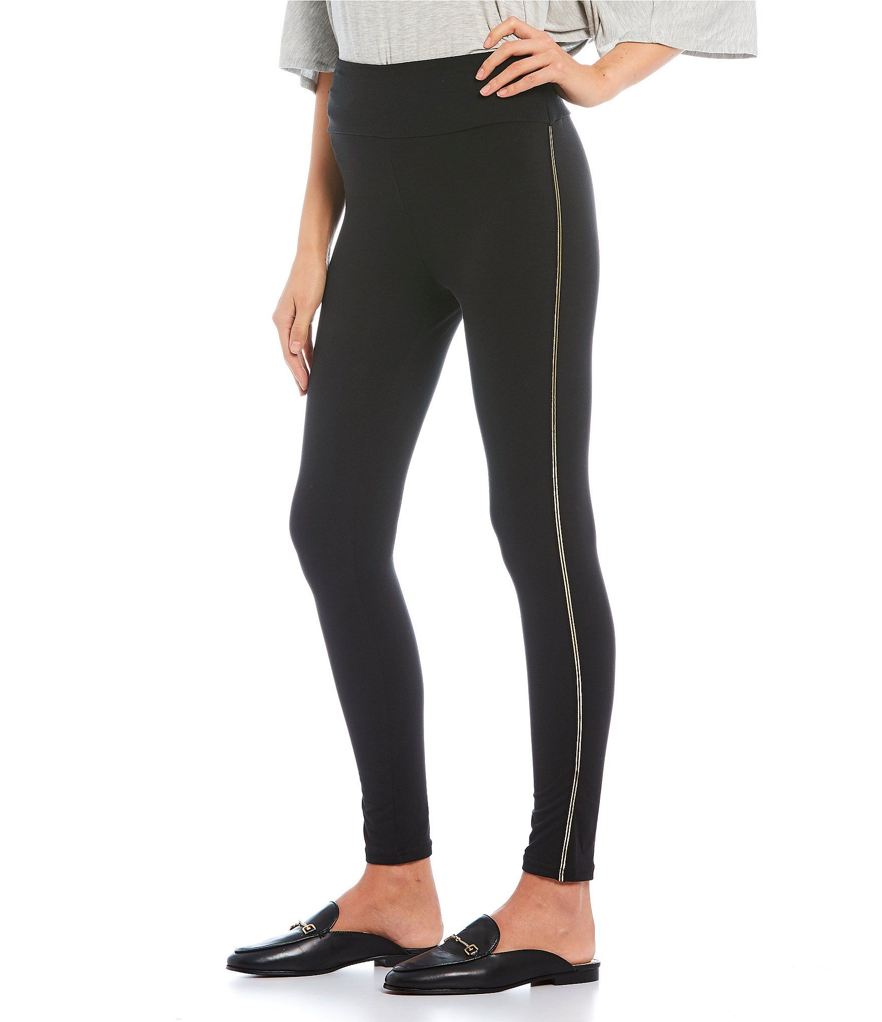Fornia Peached High Rise Gold Side Stripe Leggings - Black/Stripe XS #stripedleggings