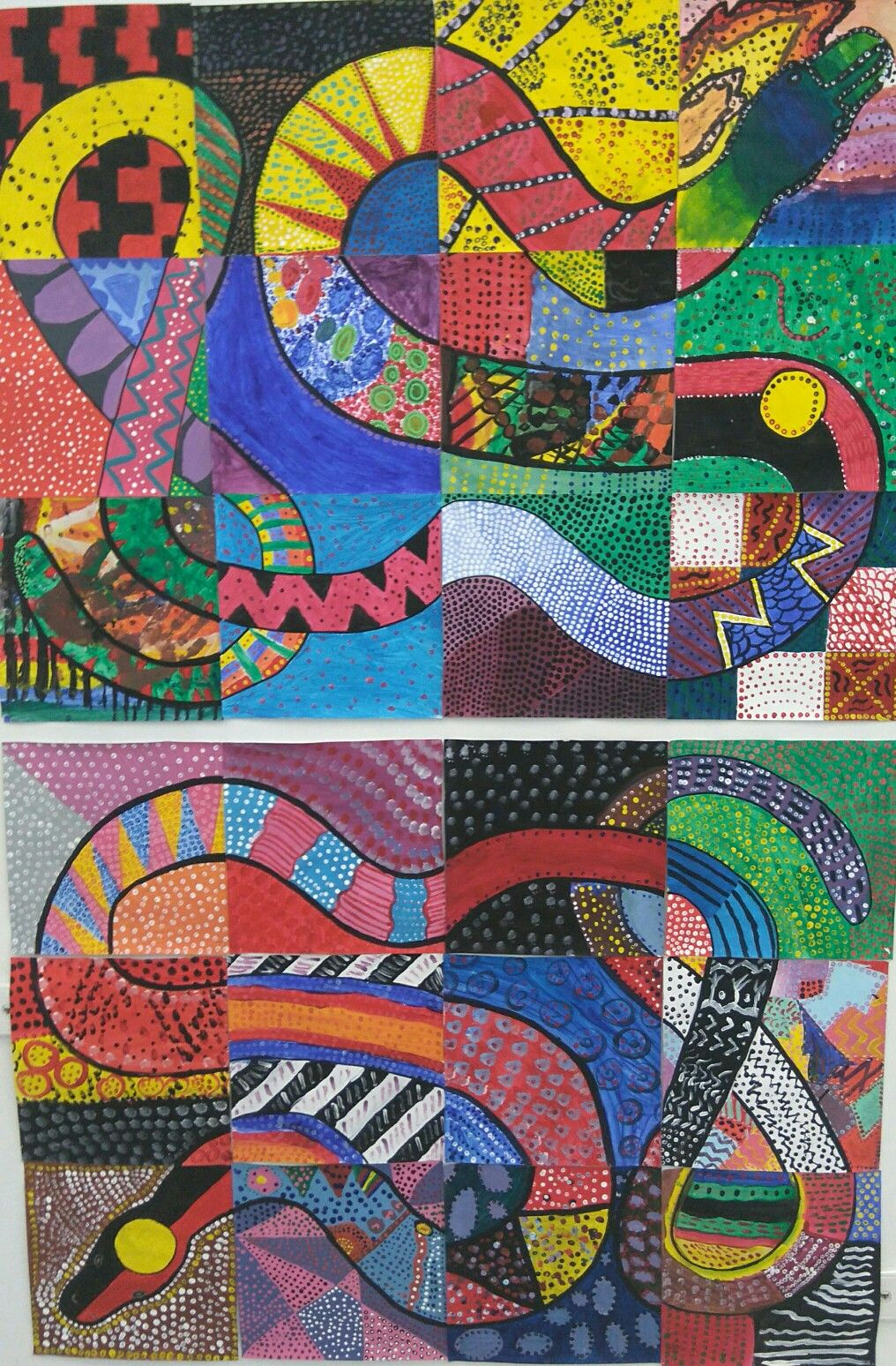 Aboriginal Australia Rainbow Serpent Collaboration Acrylic Paint