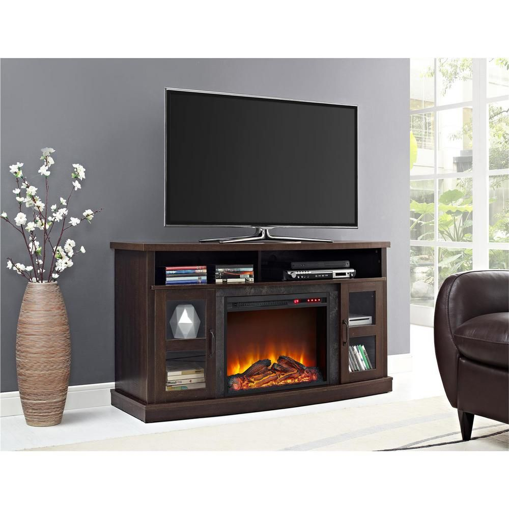 Barrow Creek 60 in Espresso Brown TV Stand Console with Fireplace