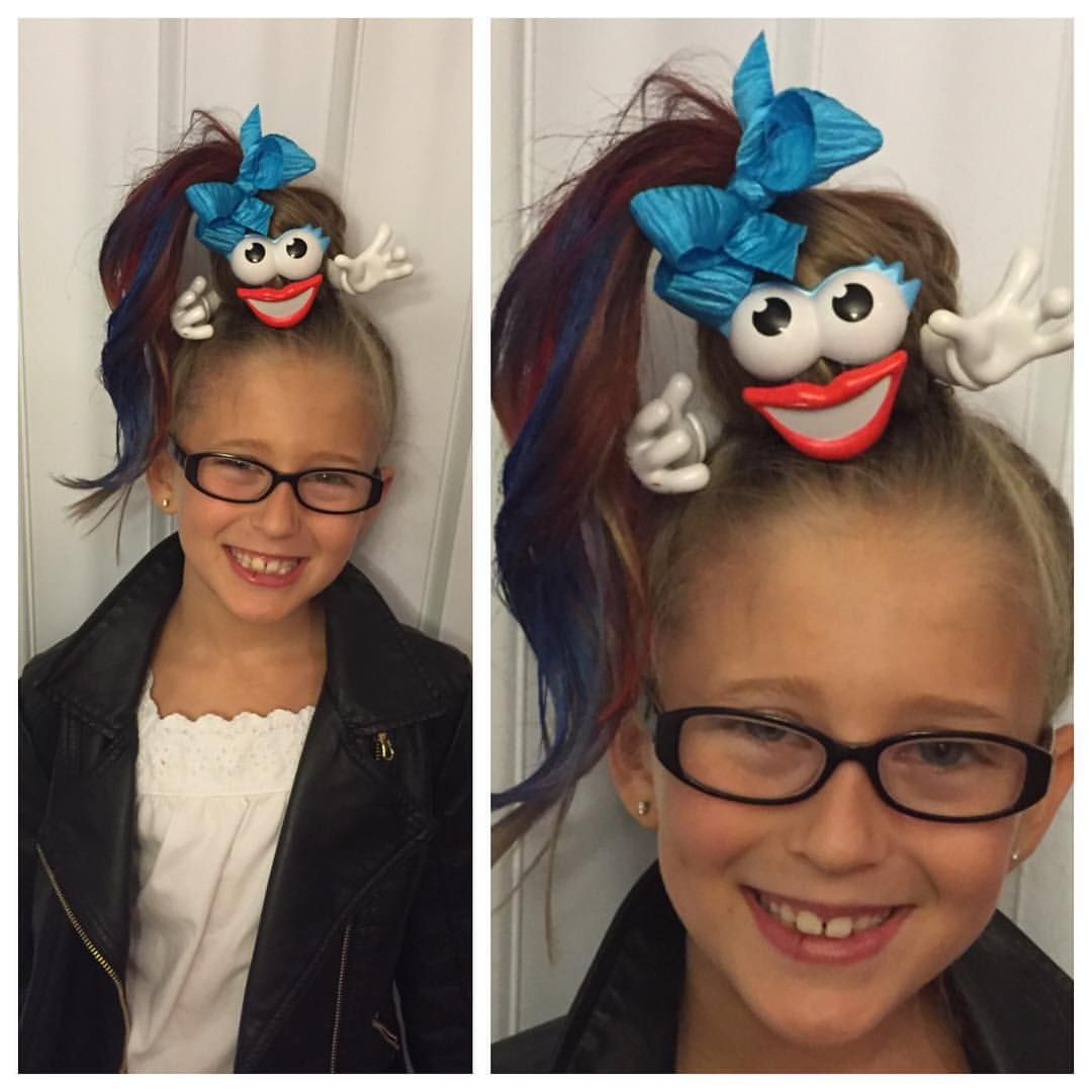 "Mindy on Instagram: ""Wacky hair for Ruthie at school. So fun and cute. #wackyhair #wackyhairday #wackyhairdayatschool #freakyfriday #crazyhair #crazyhairday…"" #crazyhairday"
