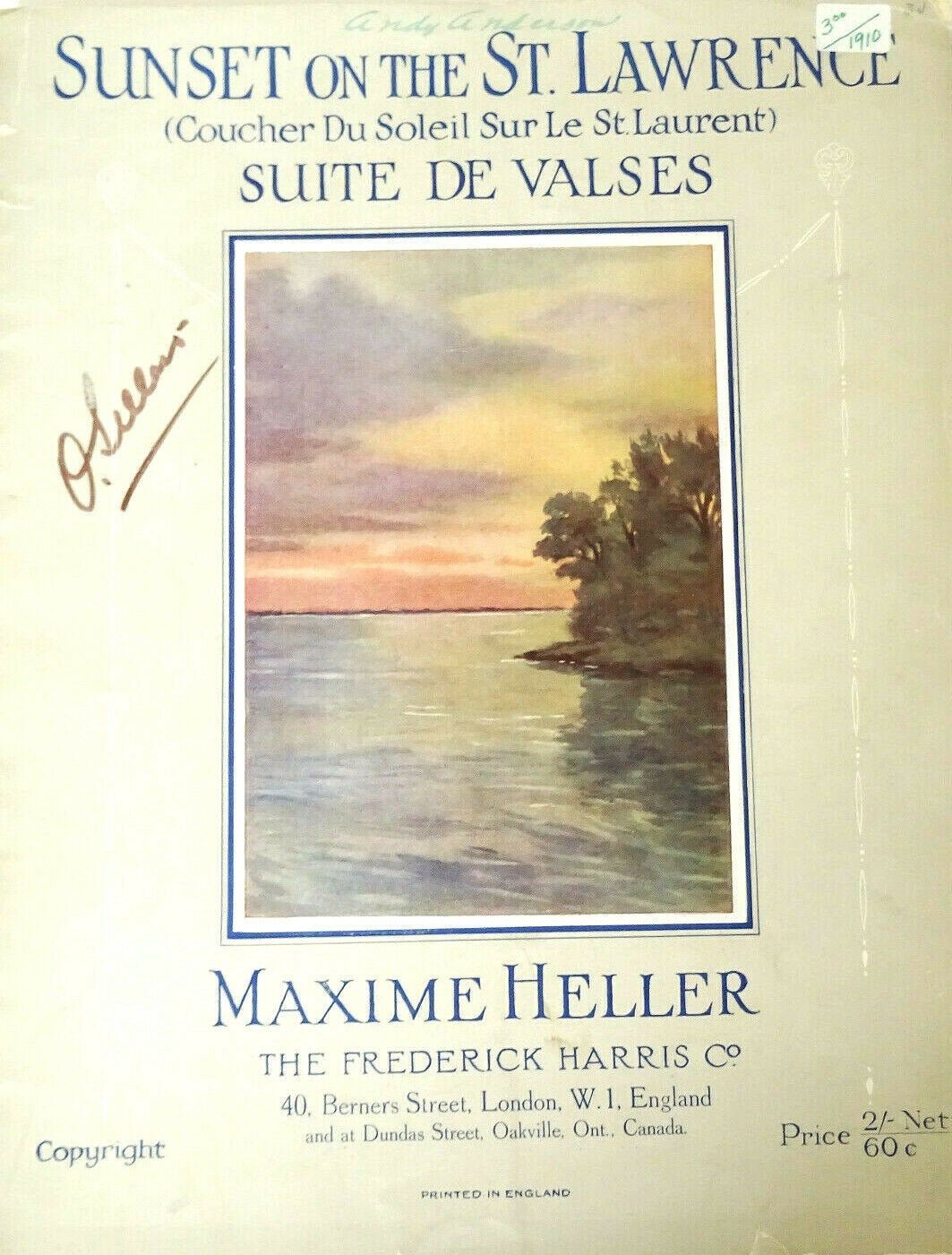 Sunset On The St. Lawrence Piano Solo Waltz Vintage Sheet Music 1910 Max Heller #vintagesheetmusic