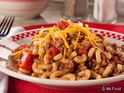 Cheeseburger Macaroni  What You'll Need:        8 ounces uncooked small elbow macaroni      1 pound ground beef      1 onion, chopped      2 (14-1/2-ounce) cans Italian stewed tomatoes, undrained      1/4 cup ketchup      1/2 teaspoon ground red pepper      1/2 teaspoon salt      1 cup (4 ounces) shredded Cheddar cheese